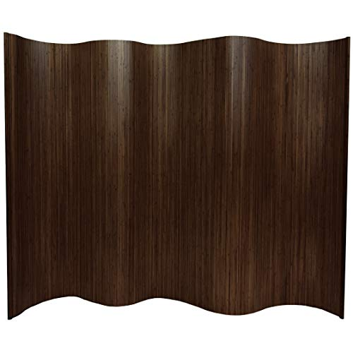 Oriental Furniture 6 ft. Tall Bamboo Wave Screen - Dark Mocha