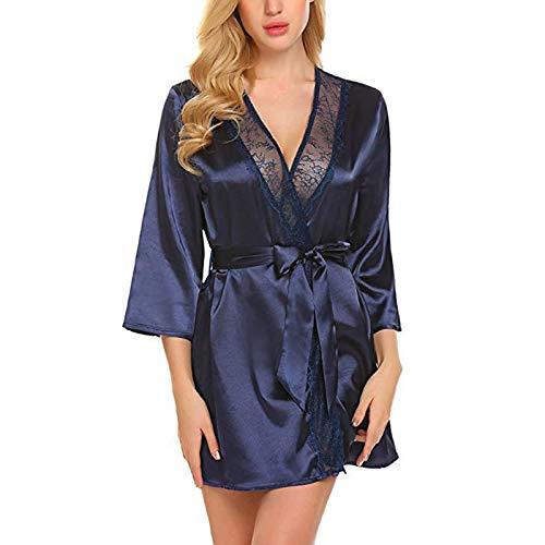 ROirEMJ Damen Bademantel,Damen Faux Marine Blau Seide Robe Badekleid Heißen Kimono...