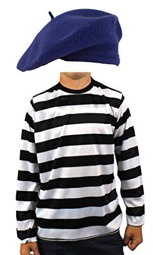 Childs francés para disfraz de color negro y blanco rayas de manga larga superior + Color boina francés bastilla día