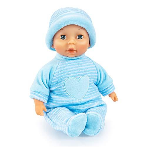 Bayer Design Prima bambola, da coccolare, occhi che si chiudono, corpo morbido, blu, 28cm