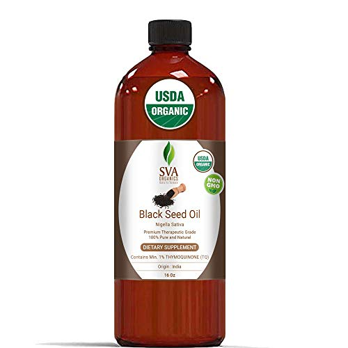 USDA Certified Organic Black Seed Carrier Oil (16 Oz)- Guaranteed 100% Pure & Natural, Authentic & Premium Therapeutic Grade Cold Pressed, Unrefined, Best for Skin, Hair