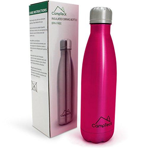 CampTeck U5873 500ml Bottiglia di Acqua Termica Acciaio Inox Doppia Parete Isolata Bevande Sport - Rosa