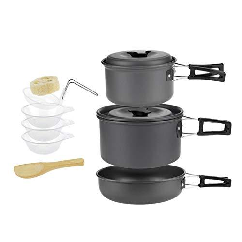 Générique Homyl Casserole Bol Pelle de Camping en Plein Air Ustensiles de Cuisine Coutellerie Kit pour 2-3 Personne