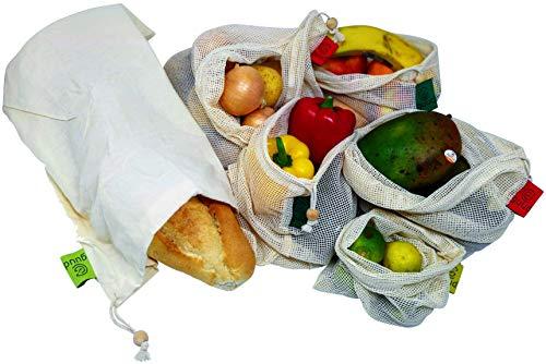 guud Hochwertige Premium Wiederverwendbare Obst- und Gemüsebeutel 6er Set (inkl. Brotbeutel) - Gemüse- und Obstnetze aus Bio-Baumwolle