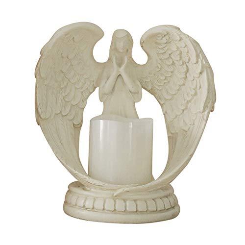 BYSDSG Alas Decorativa Orando Escultura casera Estatua Candelabro electrónico Resina Adornos navideños Flamless Wedding Angel Figurine, L