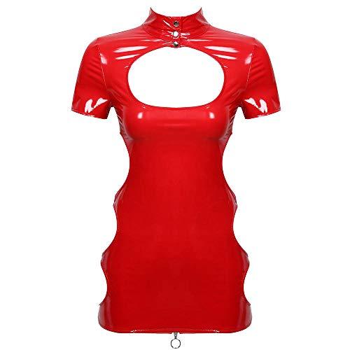JUGUU Lenceria Erotica Mini Vestido De Charol para Mujer con Agujeros Vestidos Sexy Cremallera Trasera Clubwear-Rojo_L
