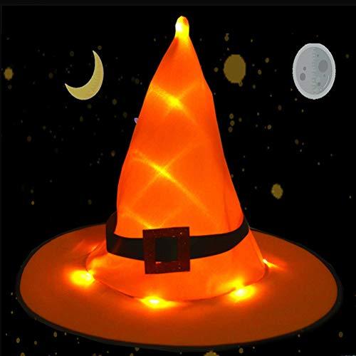 Poxcap - 10 piezas de sombrero de bruja brillante para colgar sombreros iluminados, decoraciones de Halloween, luces, cadena de iluminación, decoración, disfraz, fiesta, cosplay, interior, exteri