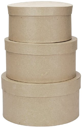 Darice 2849-04 Value Pack Round Paper Mache Box Set, 4, 5 & 6' Paper Mache Box Set