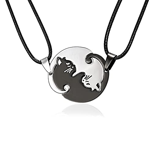 MISS RIGHT Cat Yin Yang Necklaces for Women Men Girls, Stainless Steel Couples Puzzle BFF Necklace for 2, Cat Lovers Gifts (Round Cat   Black&White)