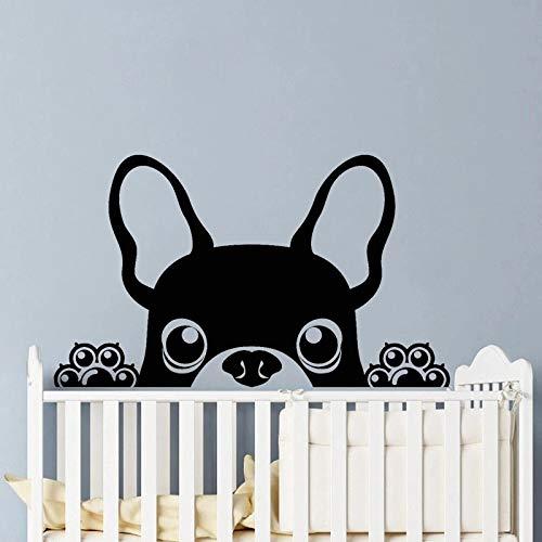 Pegatinas de pared de Bulldog francés, calcomanías de vinilo para cachorros, mascotas, decoración del hogar, decoración del hogar para bebés y niñas, calcomanías de pared para habitación de niños