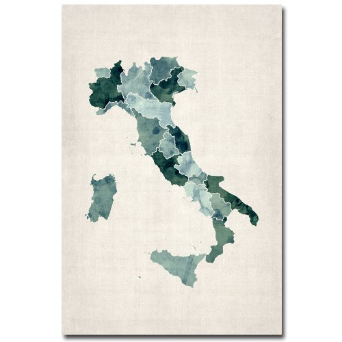 Italy Watercolor Map by Michael Tompsett, 22x32-Inch Canvas Wall Art