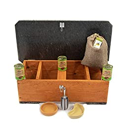 Riverside Woodcraft Hedgehog Eco Feeding Station Starter Kit With Anti Bacteria Coating