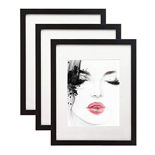 elabo 11x14 Black Picture Frame (3 Pack) - High Definition Plastic Display Pictures 8x10 with Mat or 11x14 Without Mat - Vertical or Horizontal Wall Mounting