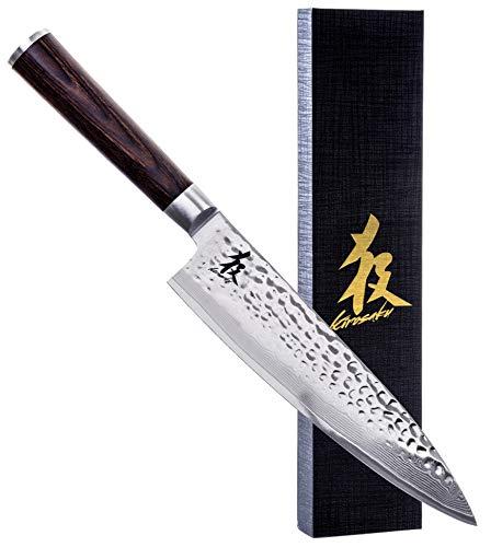 Kirosaku Premium Damastmesser 20cm – Enorm scharfes Küchenmesser aus hochwertigen japanischen Damaszener Stahl, um Problemlos alle Arten von Lebensmittel einfach zu schneiden, Dank bester Qualität