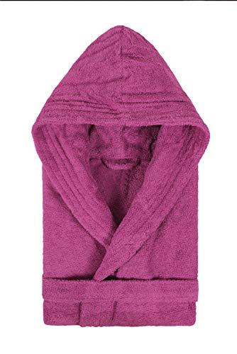 Textiles Vertrauen Pure - Albornoz con capucha para mujer, color Morado (Ciruela), talla X-Small