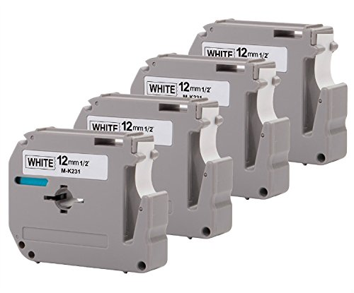 4-Pack Compatible P-Touch M Tape M231 MK231 M-K231 M-231 Label Tape, Replace for P Touch PT-70BM,PT-M95,PT-90,PT-70,PT-65,PT-70SR,PT-85, 1/2 Inch x 26.2 Feet(12mm x 8m),Black on White