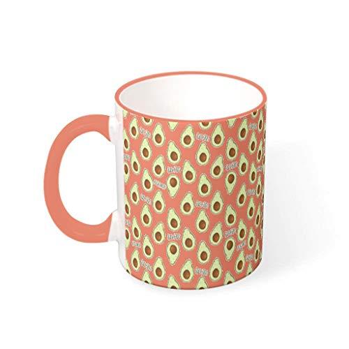 O2ECH-8 11 OZ Avocado Getränke Kakao Mug mit Griff Porzellan Unique Mug - Frisch und rein Chanukka Gegenwart, für Haus verwenden Persimmon 330ml