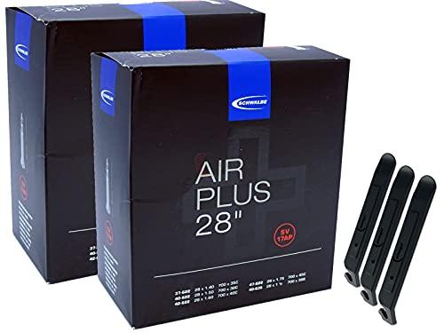 pneugo! Schwalbe Sclaverand 37-622/47-622 SV17 (Air Plus) - Set de 2 cámaras de aire para bicicleta (28') + 3 desmontadores