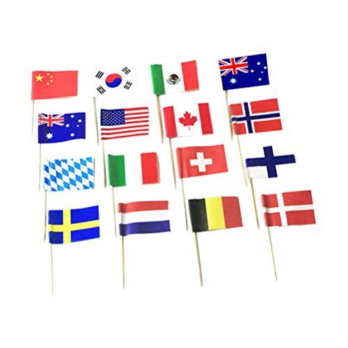 Kisangel 200Pcs Mini Zahnstocher Fahnen Nationalen Flagge Kuchen Cupcake Topper Dekorative Obst Pick für Welt Land Sport Party Favors