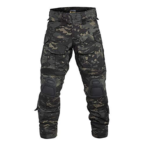 YEVHEV Taktisch Hosen Herren G3 US-Militär Camouflage Ripstop mit Knieschoner für Outdoor-Aktivitäten (Ohne Gürtel)