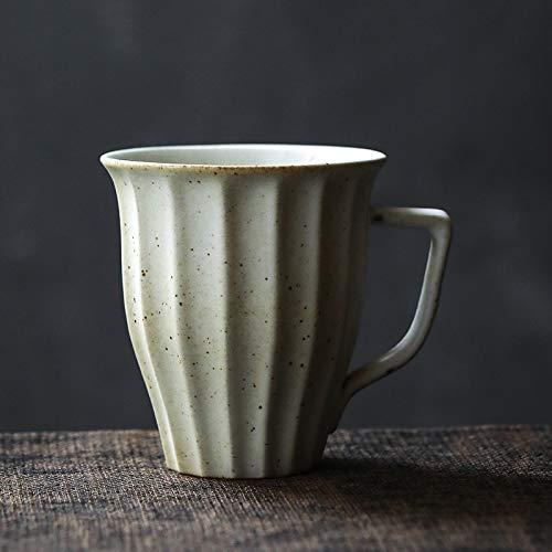 Xiaobing Retro gestreifte Tasse Steinzeug Kaffeetasse Teetasse Ofen geändert zu einfachen Paar Wasser Tasse -beige-201-300ml