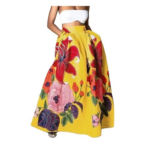 N\P Bohemia cintura alta maxi faldas mujer floral impreso una línea de falda