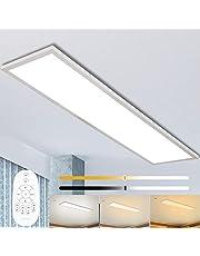 Dimbare led-plafondlamp, 120 x 30 cm, met afstandsbediening, 40 W, superplafondpaneel, lamp met sterke helderheid, 2700 K - 6500 K, warmwit, natuurwit, koudwit, lamp voor kantoor, werkplaats of woonkamer