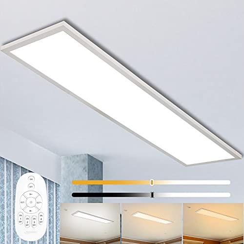 Panel de luz de techo LED dimmable 120x30 cm con control remoto, lámpara de panel 40W super techo con luz de luminosidad fuerte, 2700K-6500K Lámpara blanca cálida para taller de oficina Sala de estar