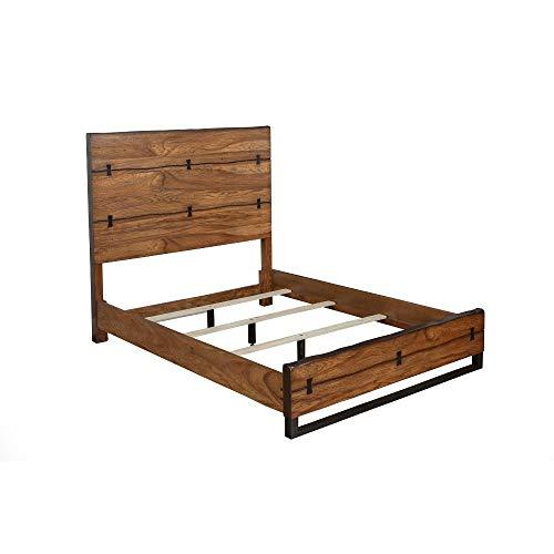 Benjara Benzara Natural Wood Standard King Panel Bed, Brown
