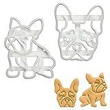 Juego de 2 moldes para galletas con diseño de bulldog francés (diseños: cuerpo y cara), 2 piezas – Bakerlogy