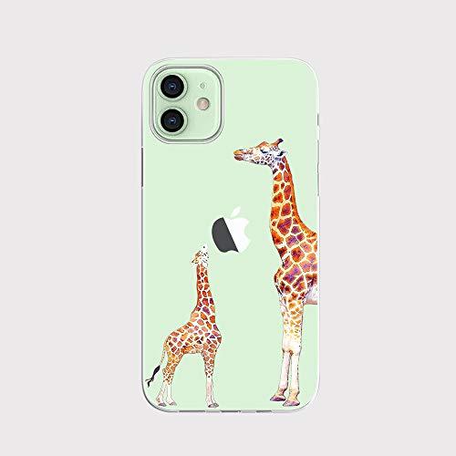 FancyHülle Kompatibel mit iPhone 12 Mini (5,4 Zoll) Tiermuster Weiche Silikon Schutzhülle Transparent iPhone 12 Mini Hülle (Giraffen)