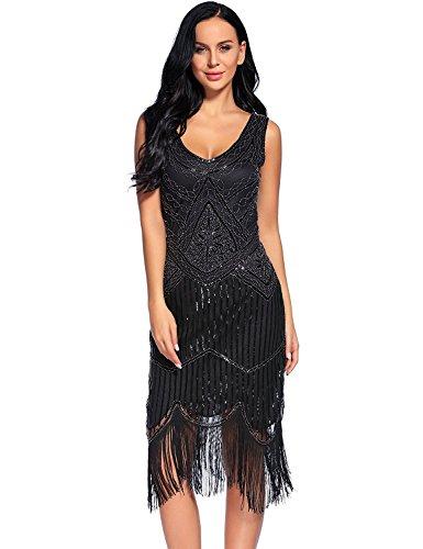 Women's Vintage 1920s Fringed Gatsby Sequin Beaded Tassels Hem Flapper Dress (S, Black)