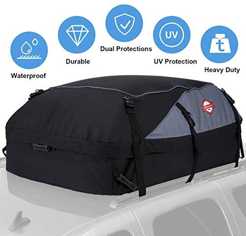 Sailnovo Auto Dachbox, Faltbare Dachtasche Wasserdicht Dachkoffer 15 Kubikfuß Auto Dachbox Tasche Aufbewahrungsbox für Reisen und Gepäcktransport, Schwarz