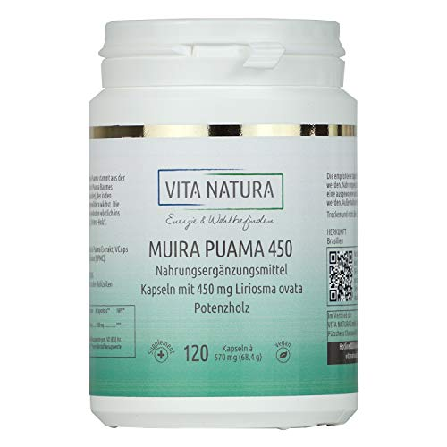 Vita Natura Muira Puama 450 mg Vegikapseln, Potenzholz, 1er Pack (1 x 120 Stk.)