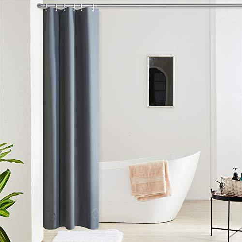 Furlinic Duschvorhang Schmal für Eck Dusche Kleine Badewanne Eva Badvorhang Schimmelresistent Wasserdicht 100x200 Dunkelgrau mit 6 Duschvorhangringen Saum mit Steinen.