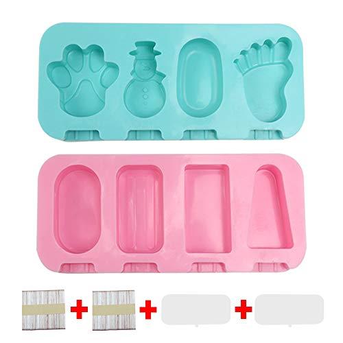tingz 2 Piezas Mini Helado de Silicona Stick Ice Moldes,Molde de Paleta en Forma de Dibujos Animados para niños,con Tapa y 100 Palos(Azul,Rosa)