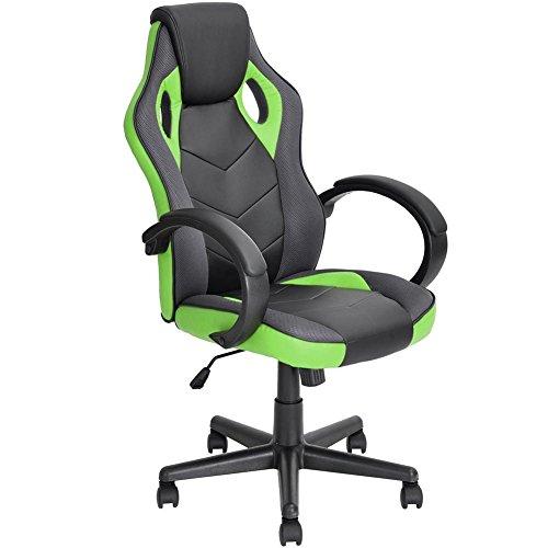 Bakaji Gaming-Stuhl, Bürostuhl, drehbar, Rollen, Sport, Racer, Büro, Rennen, Präsenz, Zuhause, Studio, Schreibtisch, Bürostuhl, Höhenverstellbar (grün)