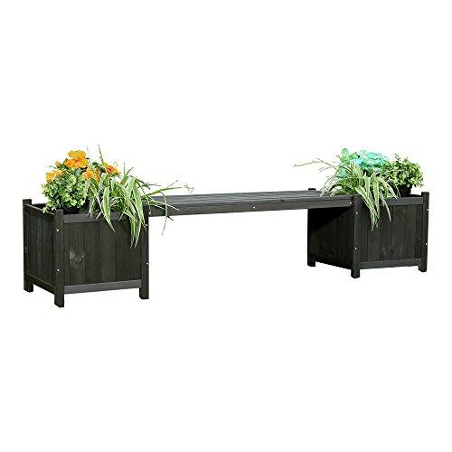 Melko Gartenbank 2 sitzer Holzbank 180 cm mit Pflanzkasten Holz Sitzbank Garten für Aussen