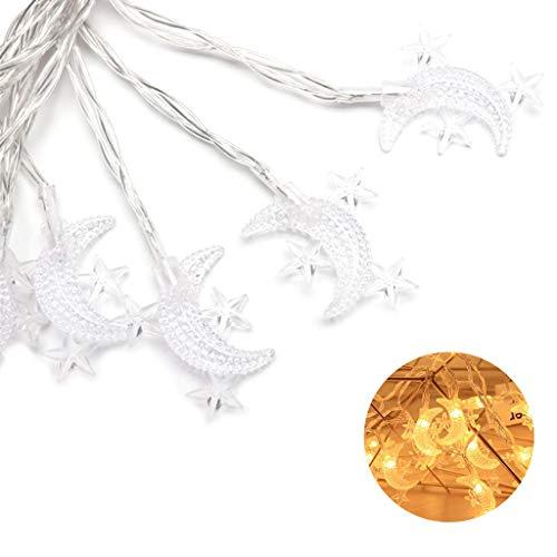Angelliu Lichtslingers 1pc, 10 Stuks LED Maanvorm, AA Batterijverlichting Voor Binnen En Buiten Decoratie Cadeau Voor Ramadan