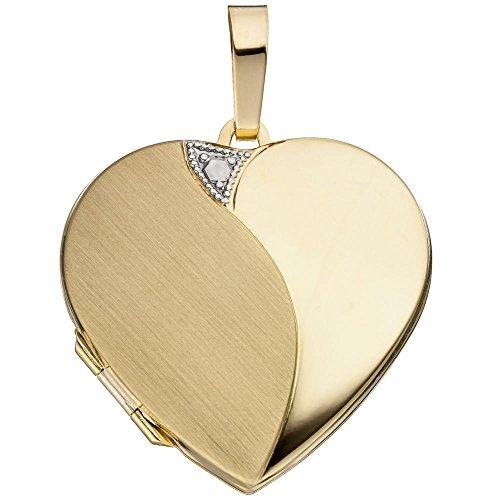 JOBO Medaillon Herz 585 Gold Gelbgold teilrhodiniert teilmattiert