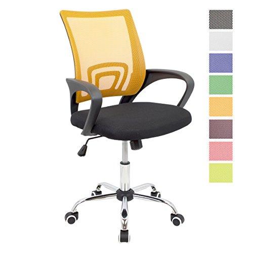 CashOffice - Silla de Escritorio Ergonómica, Silla de Oficina Giratoria con Respaldo Transpirable (Naranja)