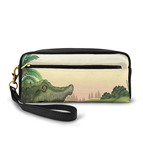 Pencil Case Pen Bag Pouch Stationary,Exotic Crocodile at The River with Palm Trees Water Lagoon Animal Humor Summer Theme,Small Makeup Bag Coin Purse