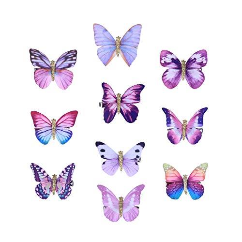10 stücke Nette Entzückende Dreidimensionale Schmetterling Haarspange Haarnadel Bobby Pin Haarspange für Kinder Mädchen (Lila, Zufällige Muster)