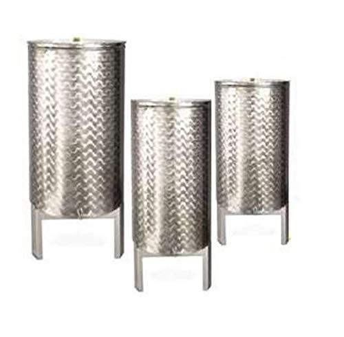 Behälter, geschweißt, konfektioniert, 200 l, mit Halterung und Behälter aus Edelstahl