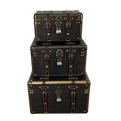 Maleta decorativa Cajita de madera 1Pcs retro caja de madera con el bloqueo de almacenamiento Caja de almacenamiento de acabado alcanfor gran caja de madera ( Color : Vintage , Size : L(46x30x30cm) )