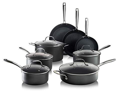 Granitestone 13 Piece Premium Chef's Set with Ultimate Nonstick Diamond & Mineral Coating Pro Cookware, Large, Black