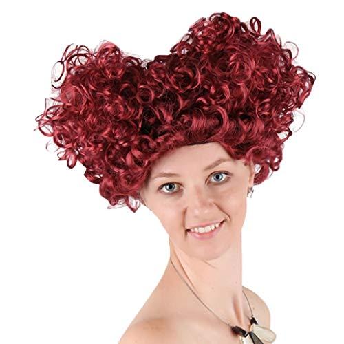 Perücke Rot Damen Locken Cosplay Herzkönigin Perücke Netzwerk Haarteil Kopfbedeckungen Karneval Party