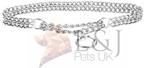 Robusto collare semistrozzo per cane, con catena su 2file, in metallo cromato, con aggancio