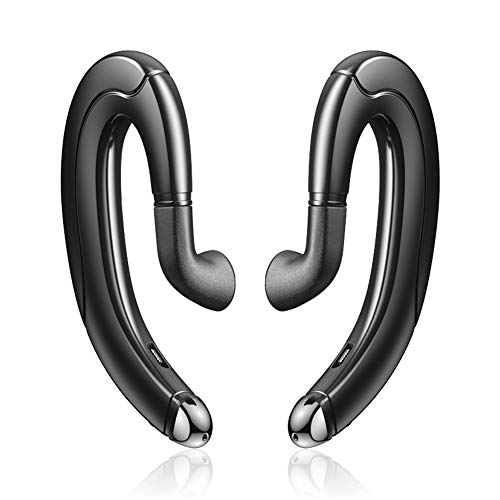 Efanr Ear-Hook Headphones, Wireless Painless Wearing Earphones Noise Cancelling Handsfree Bone Conduction Headphone with Microphone for iPhone and Android Smart Phones, 2-Piece (Black)