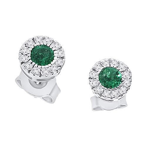 orecchini punto luce oro bianco 18ct 750 con smeraldo verde 0.40 ct e diamanti 0,20 ct orecchini lobo